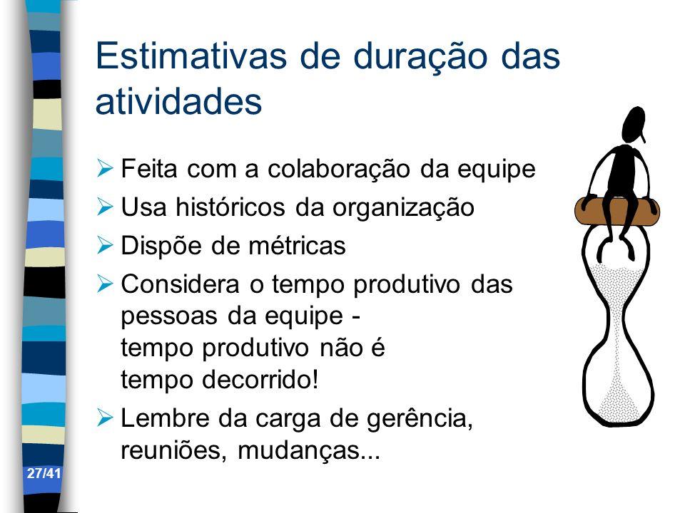 Estimativas de duração das atividades