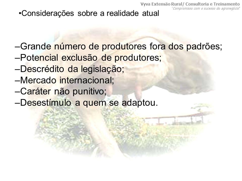 –Grande número de produtores fora dos padrões;