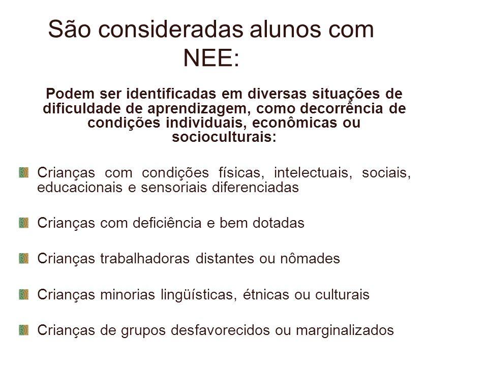 São consideradas alunos com NEE: