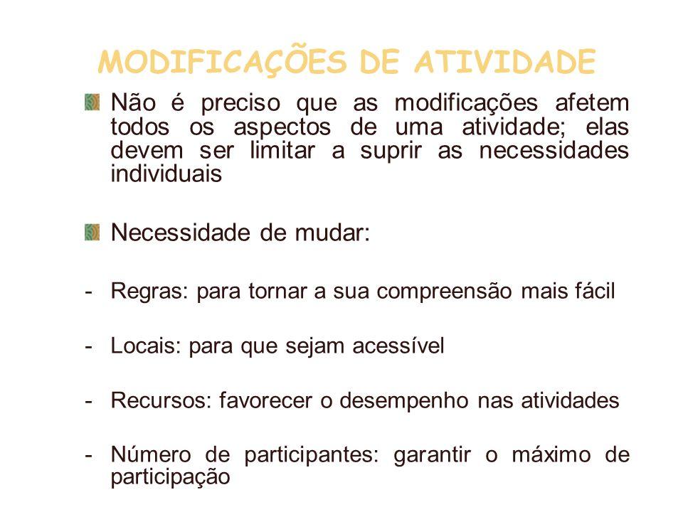 MODIFICAÇÕES DE ATIVIDADE