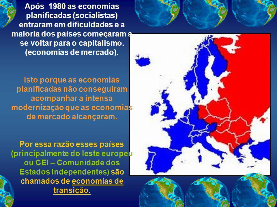 Após 1980 as economias planificadas (socialistas) entraram em dificuldades e a maioria dos países começaram a se voltar para o capitalismo. (economias de mercado).