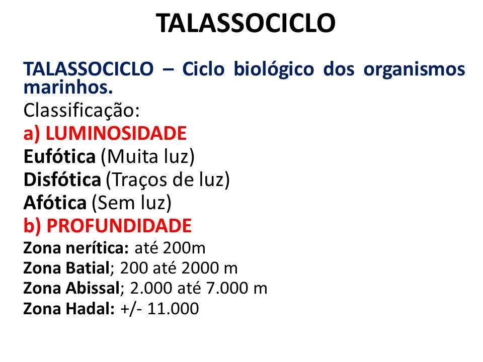 TALASSOCICLO TALASSOCICLO – Ciclo biológico dos organismos marinhos.