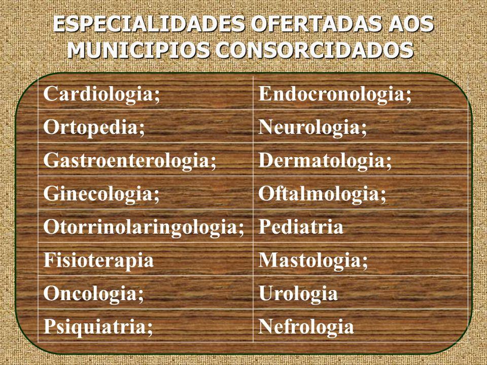 ESPECIALIDADES OFERTADAS AOS MUNICIPIOS CONSORCIDADOS