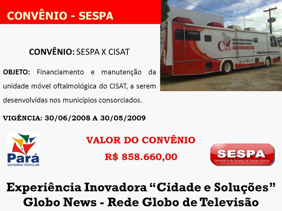 CONVÊNIO - SESPA Experiência Inovadora Cidade e Soluções
