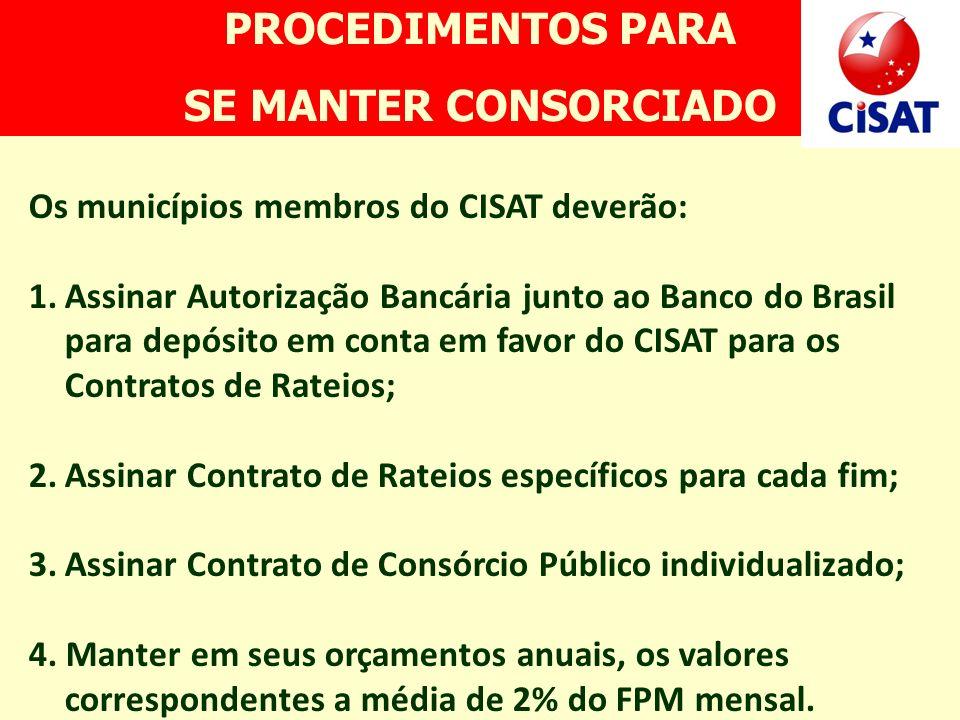 PROCEDIMENTOS PARA SE MANTER CONSORCIADO