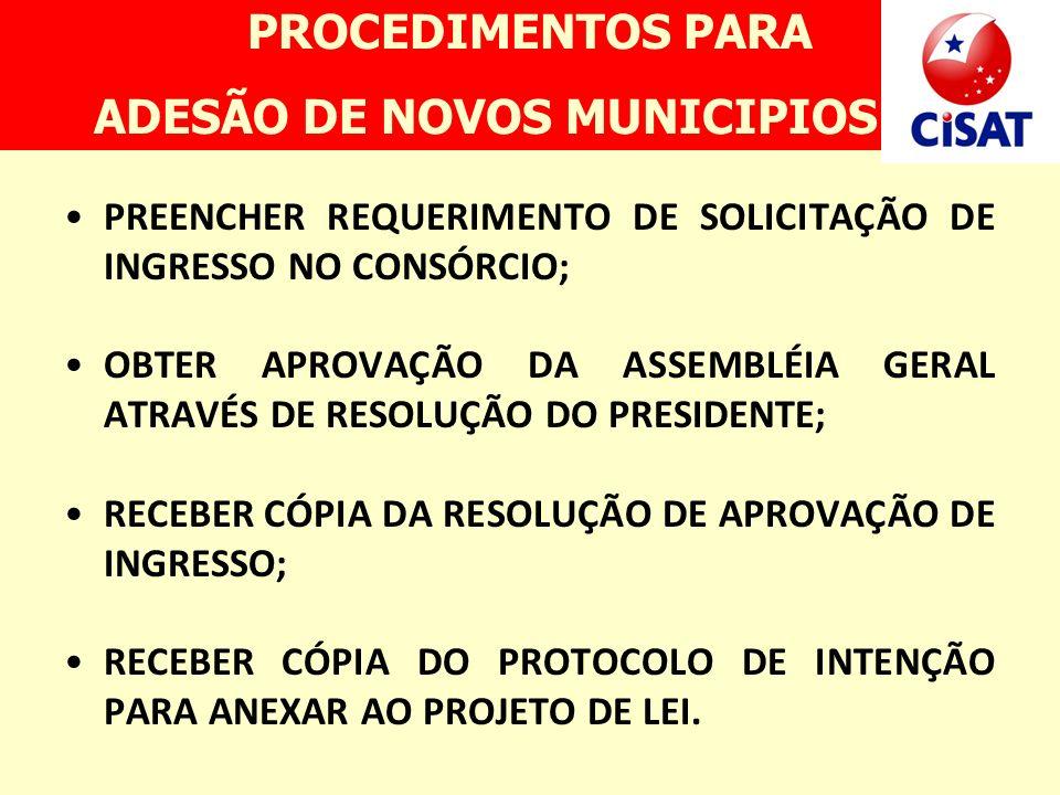 ADESÃO DE NOVOS MUNICIPIOS