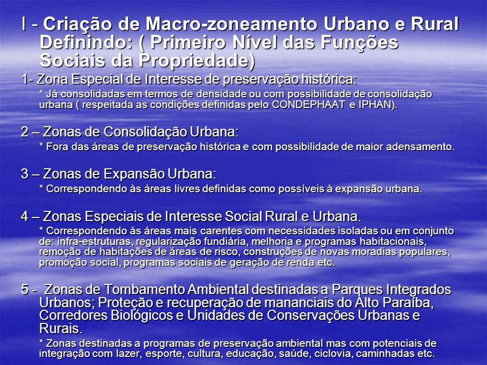 I - Criação de Macro-zoneamento Urbano e Rural Definindo: ( Primeiro Nível das Funções Sociais da Propriedade)