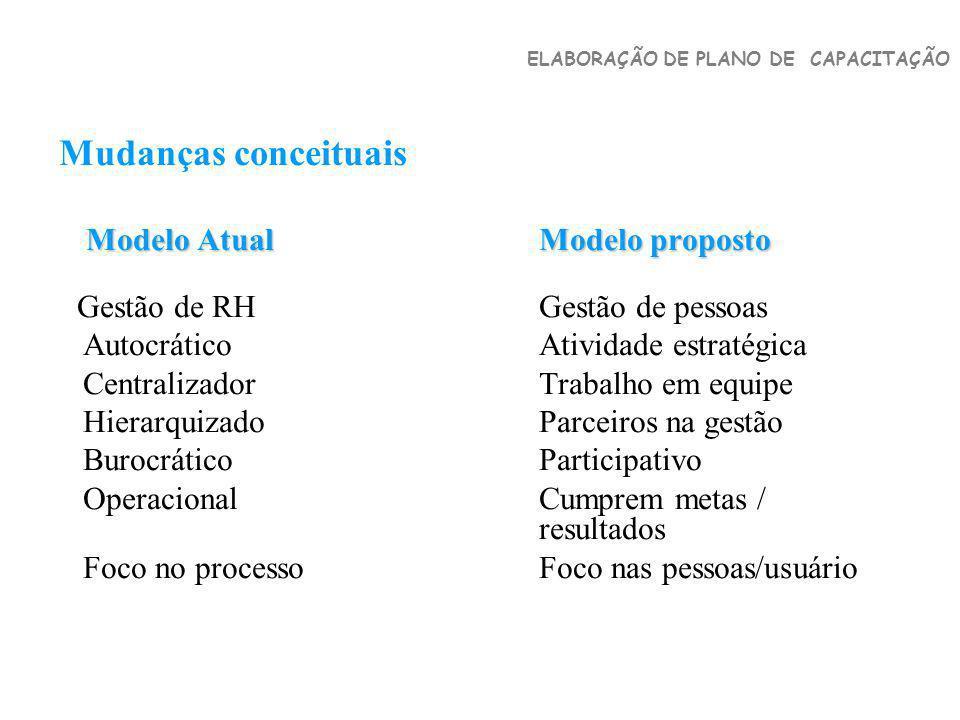 Mudanças conceituais Autocrático Atividade estratégica