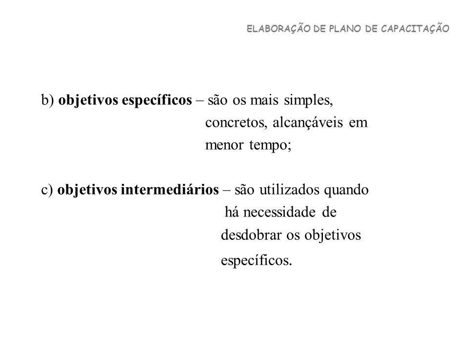 b) objetivos específicos – são os mais simples,