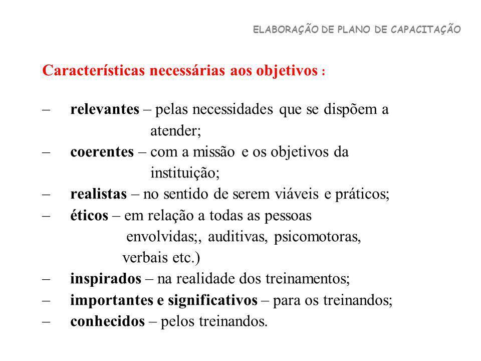 Características necessárias aos objetivos :