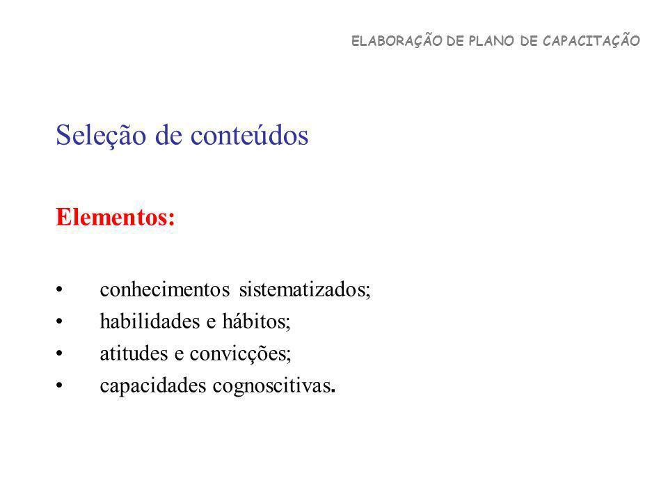 Seleção de conteúdos Elementos: conhecimentos sistematizados;