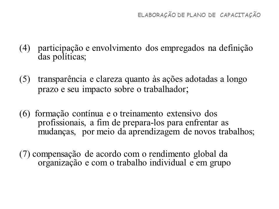 participação e envolvimento dos empregados na definição das políticas;