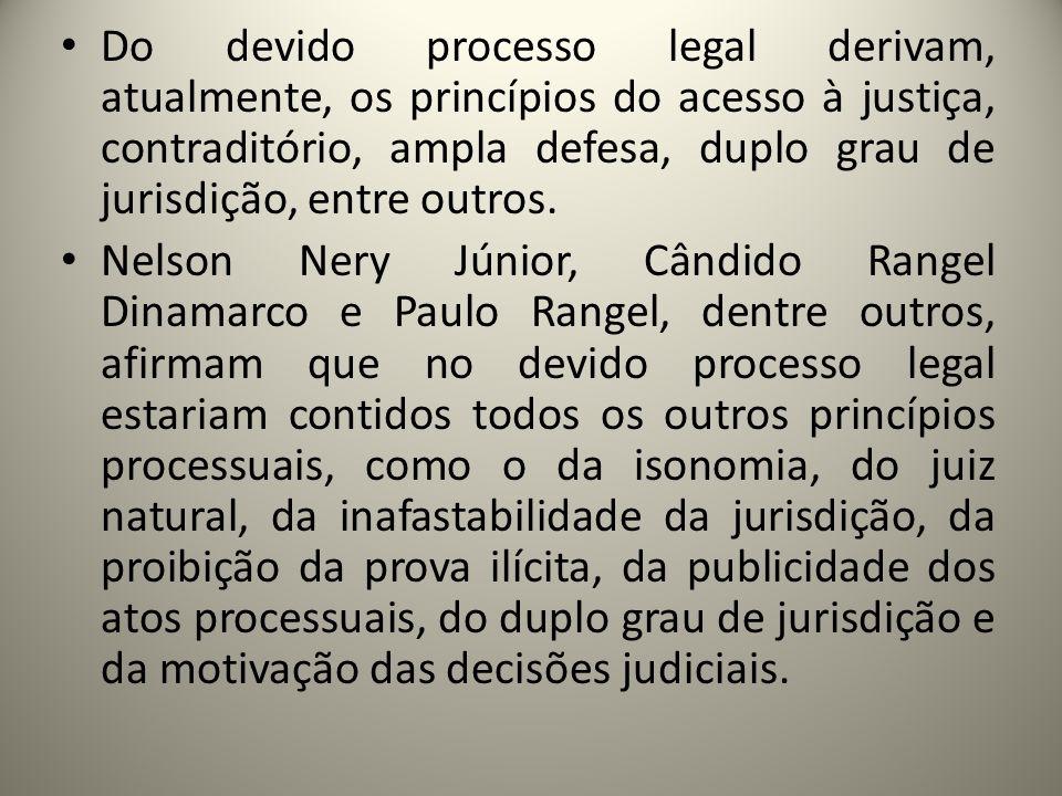 Do devido processo legal derivam, atualmente, os princípios do acesso à justiça, contraditório, ampla defesa, duplo grau de jurisdição, entre outros.