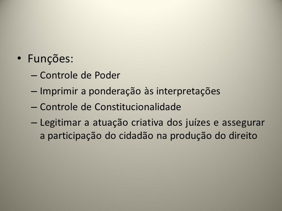Funções: Controle de Poder Imprimir a ponderação às interpretações