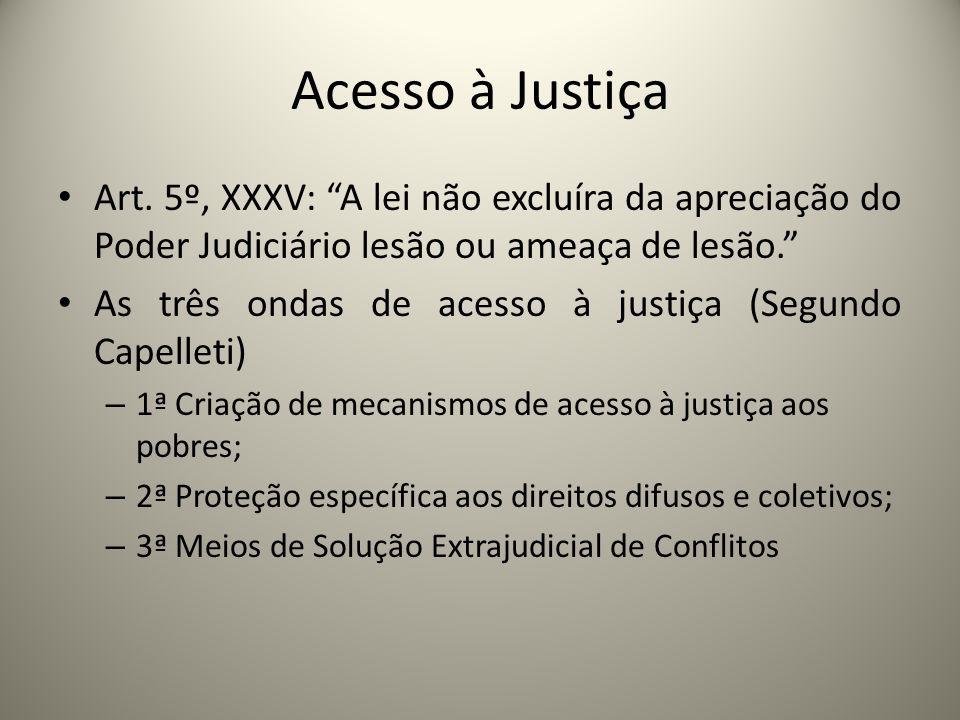 Acesso à Justiça Art. 5º, XXXV: A lei não excluíra da apreciação do Poder Judiciário lesão ou ameaça de lesão.