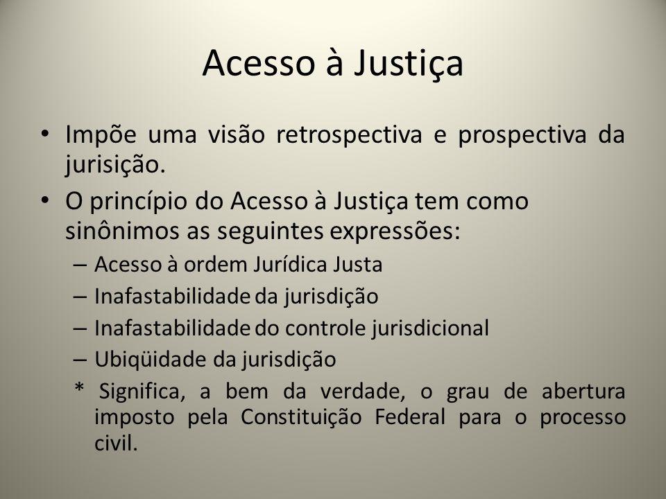 Acesso à JustiçaImpõe uma visão retrospectiva e prospectiva da jurisição.