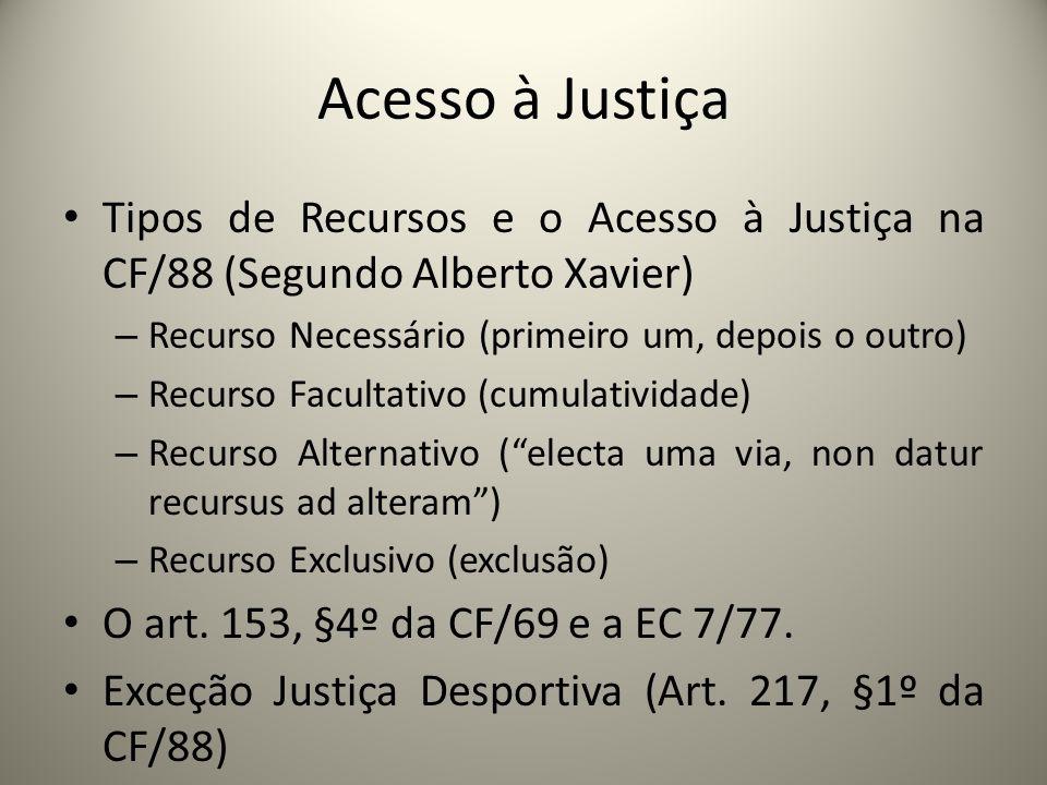 Acesso à Justiça Tipos de Recursos e o Acesso à Justiça na CF/88 (Segundo Alberto Xavier) Recurso Necessário (primeiro um, depois o outro)