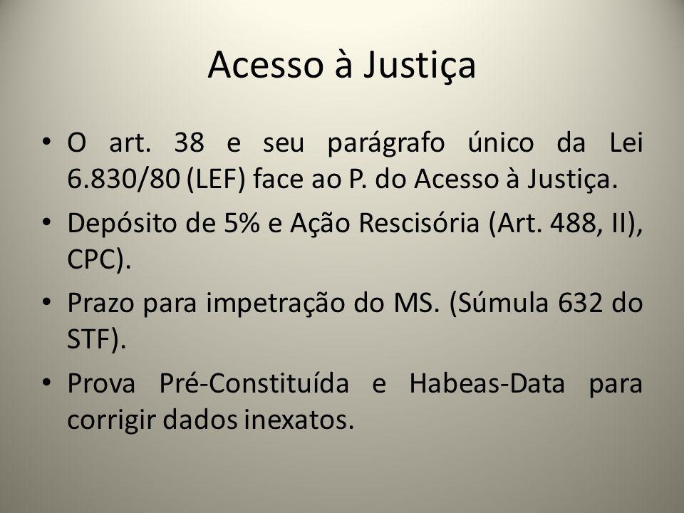 Acesso à Justiça O art. 38 e seu parágrafo único da Lei 6.830/80 (LEF) face ao P. do Acesso à Justiça.