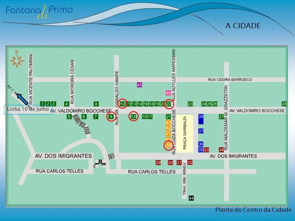 A CIDADE Linha 10 de Julho Planta do Centro da Cidade