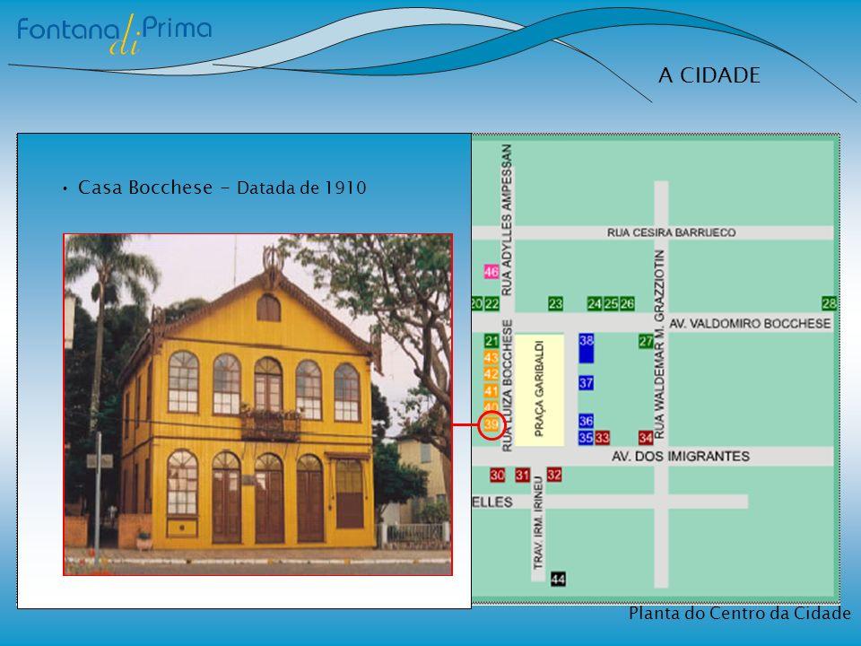 A CIDADE Casa Bocchese - Datada de 1910 Planta do Centro da Cidade