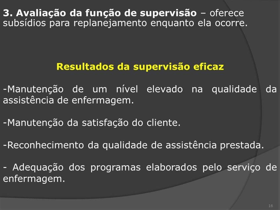 Resultados da supervisão eficaz