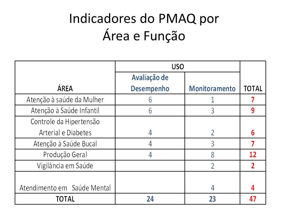 Indicadores do PMAQ por Área e Função