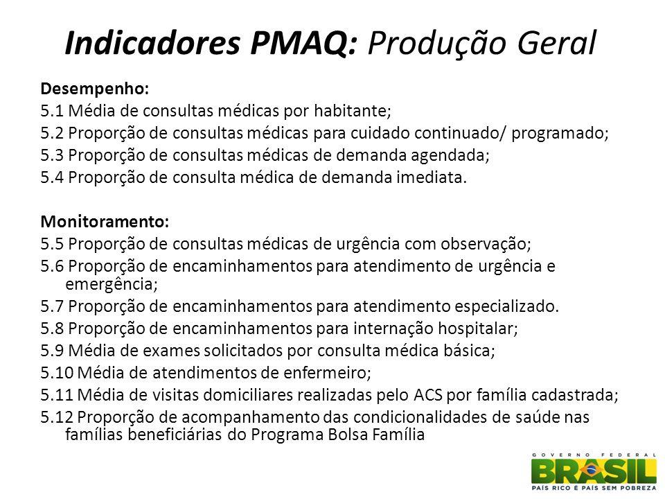 Indicadores PMAQ: Produção Geral