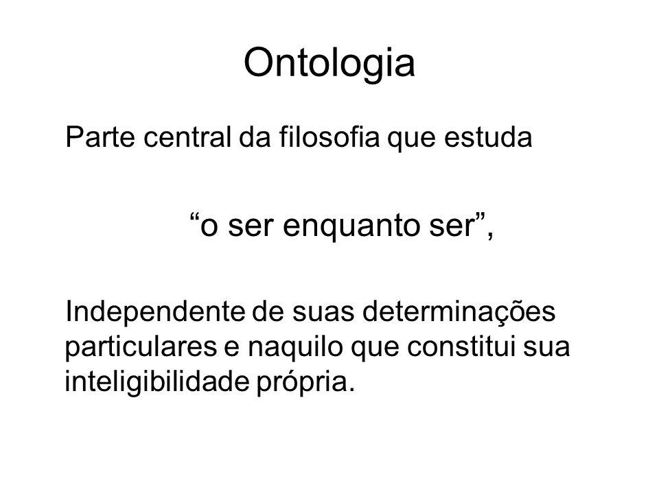 Ontologia o ser enquanto ser , Parte central da filosofia que estuda