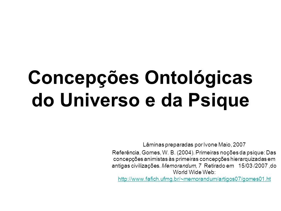 Concepções Ontológicas do Universo e da Psique