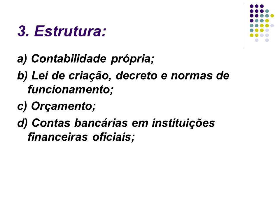 3. Estrutura: a) Contabilidade própria;