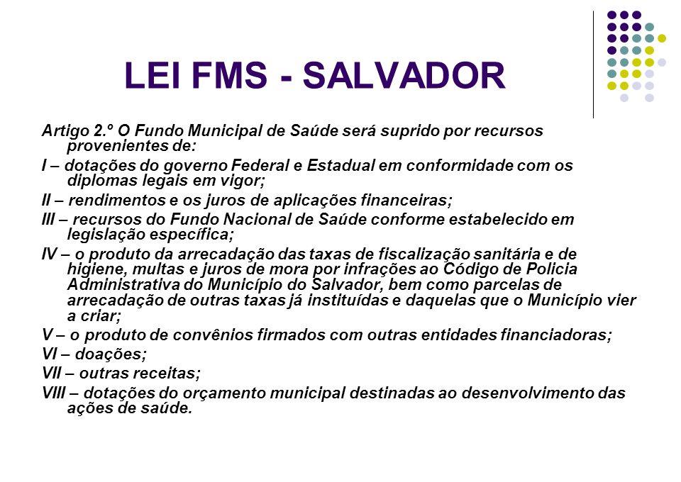 LEI FMS - SALVADOR Artigo 2.º O Fundo Municipal de Saúde será suprido por recursos provenientes de: