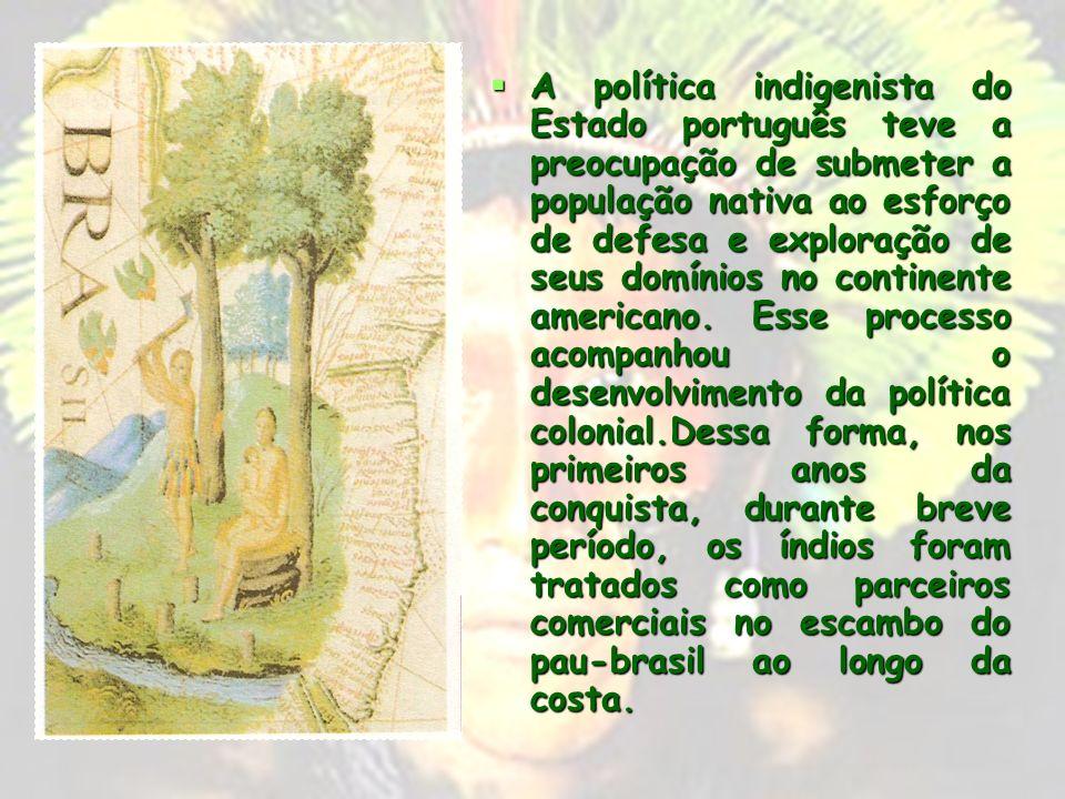 A política indigenista do Estado português teve a preocupação de submeter a população nativa ao esforço de defesa e exploração de seus domínios no continente americano.