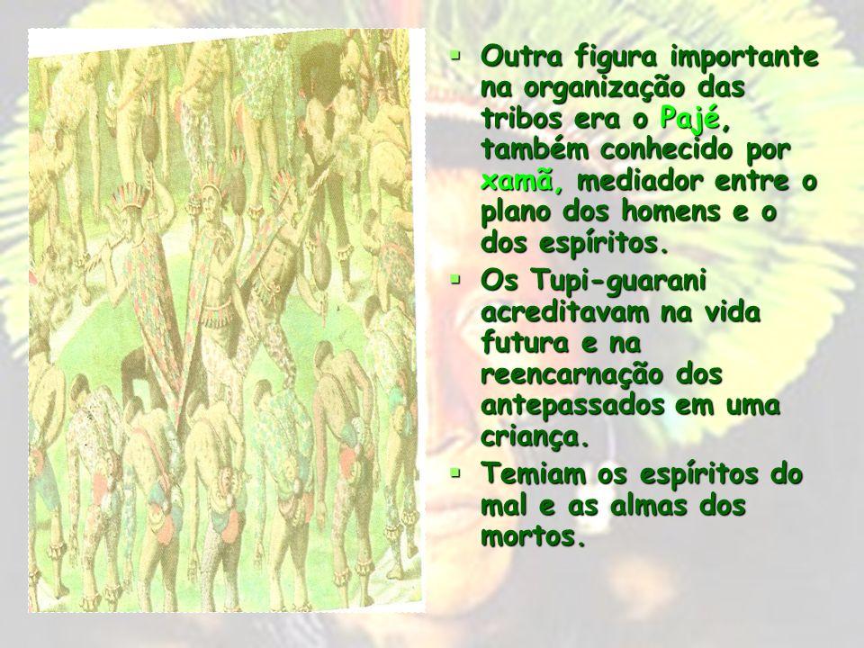 Outra figura importante na organização das tribos era o Pajé, também conhecido por xamã, mediador entre o plano dos homens e o dos espíritos.