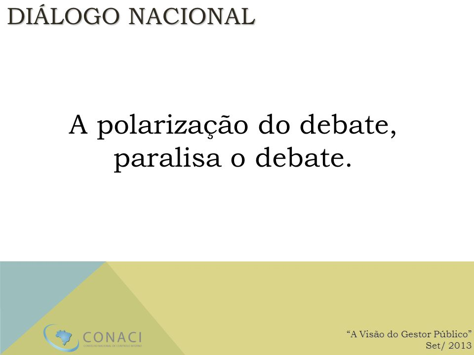 A polarização do debate,