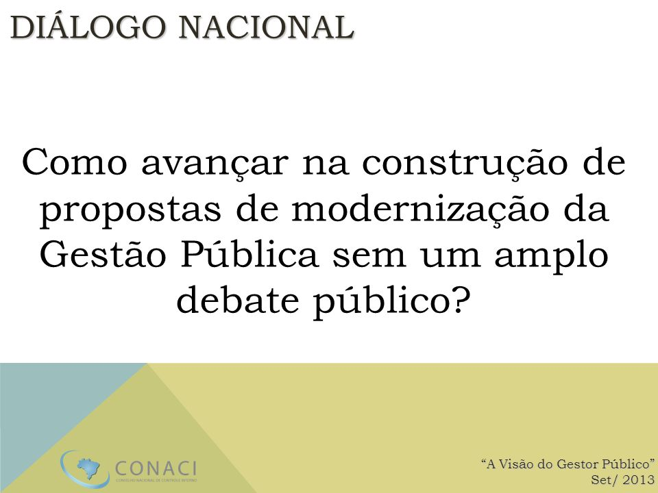 DIÁLOGO NACIONAL Como avançar na construção de propostas de modernização da Gestão Pública sem um amplo debate público