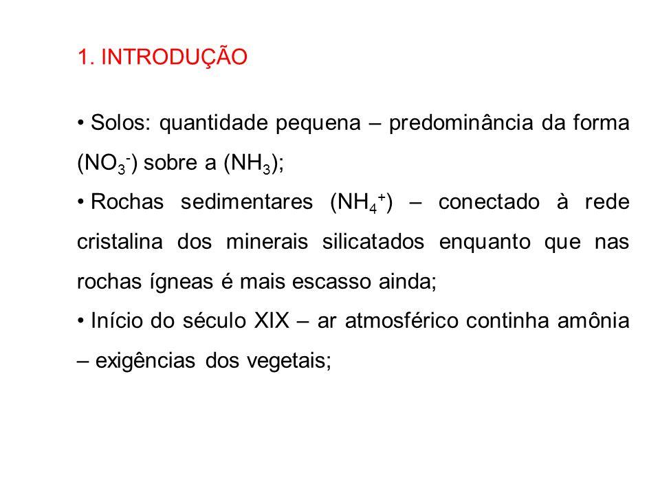 1. INTRODUÇÃO Solos: quantidade pequena – predominância da forma (NO3-) sobre a (NH3);