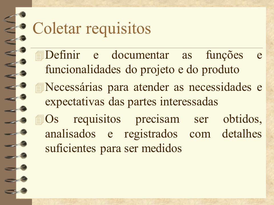 Coletar requisitos Definir e documentar as funções e funcionalidades do projeto e do produto.