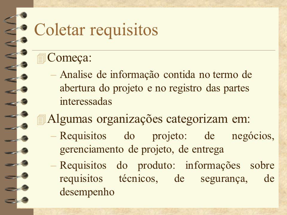 Coletar requisitos Começa: Algumas organizações categorizam em: