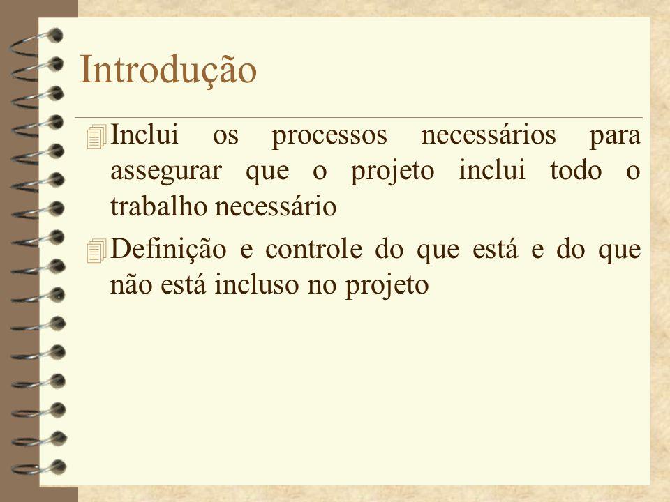 Introdução Inclui os processos necessários para assegurar que o projeto inclui todo o trabalho necessário.