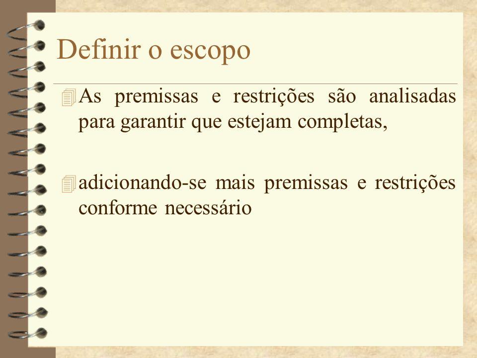 Definir o escopo As premissas e restrições são analisadas para garantir que estejam completas,