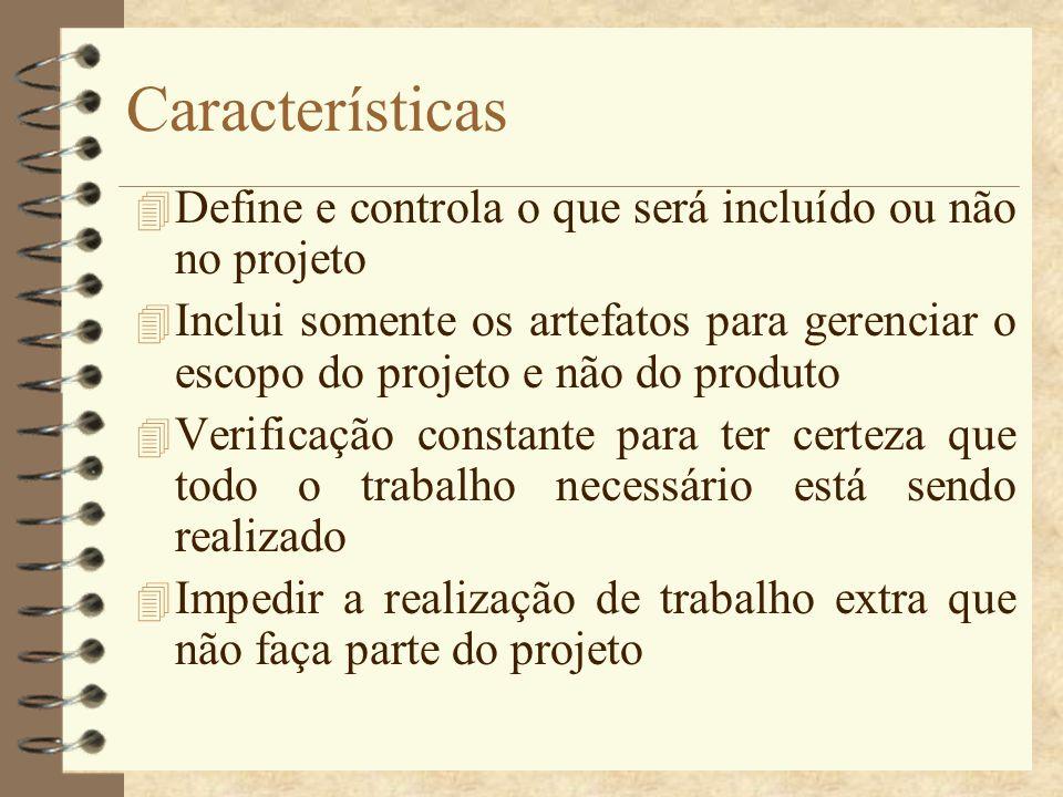 CaracterísticasDefine e controla o que será incluído ou não no projeto.