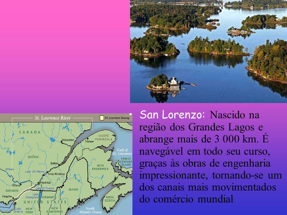 San Lorenzo: Nascido na região dos Grandes Lagos e abrange mais de 3 000 km.