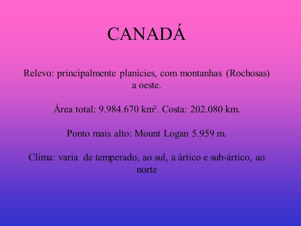 Países: CANADÁ Relevo: principalmente planícies, com montanhas (Rochosas) a oeste.
