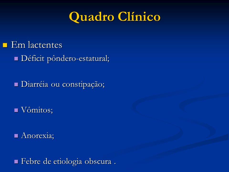 Quadro Clínico Em lactentes Déficit pôndero-estatural;