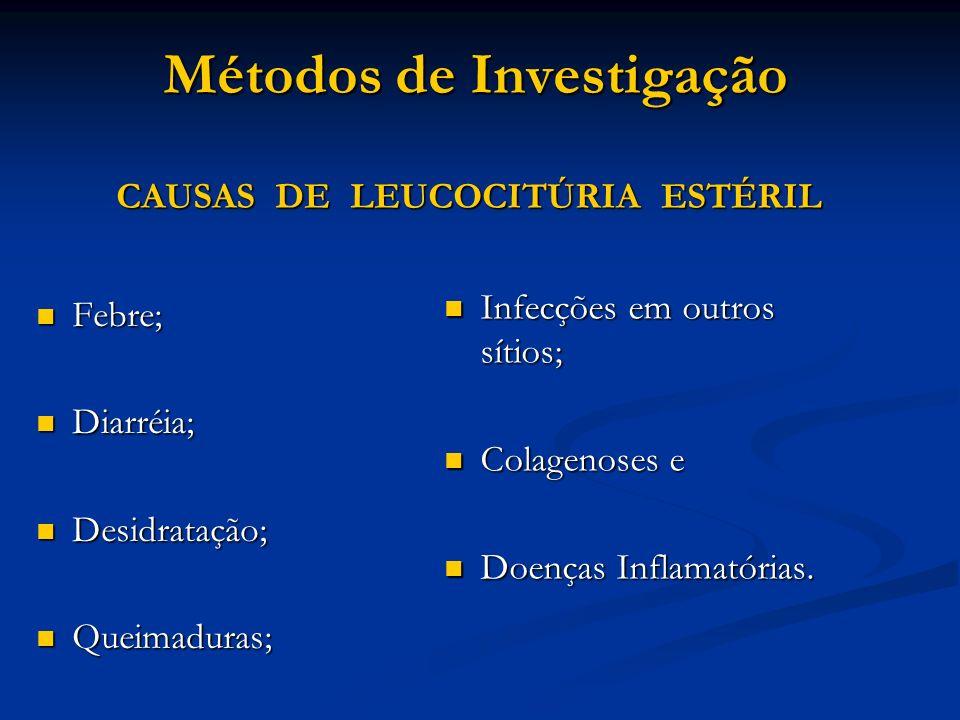 Métodos de Investigação CAUSAS DE LEUCOCITÚRIA ESTÉRIL