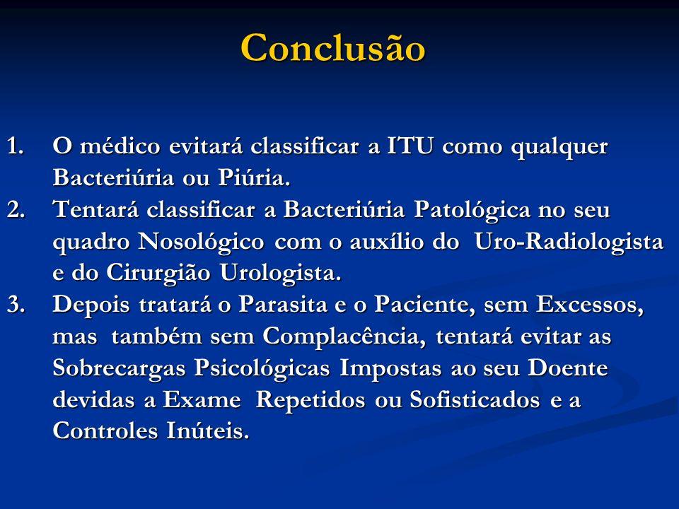 Conclusão O médico evitará classificar a ITU como qualquer Bacteriúria ou Piúria.