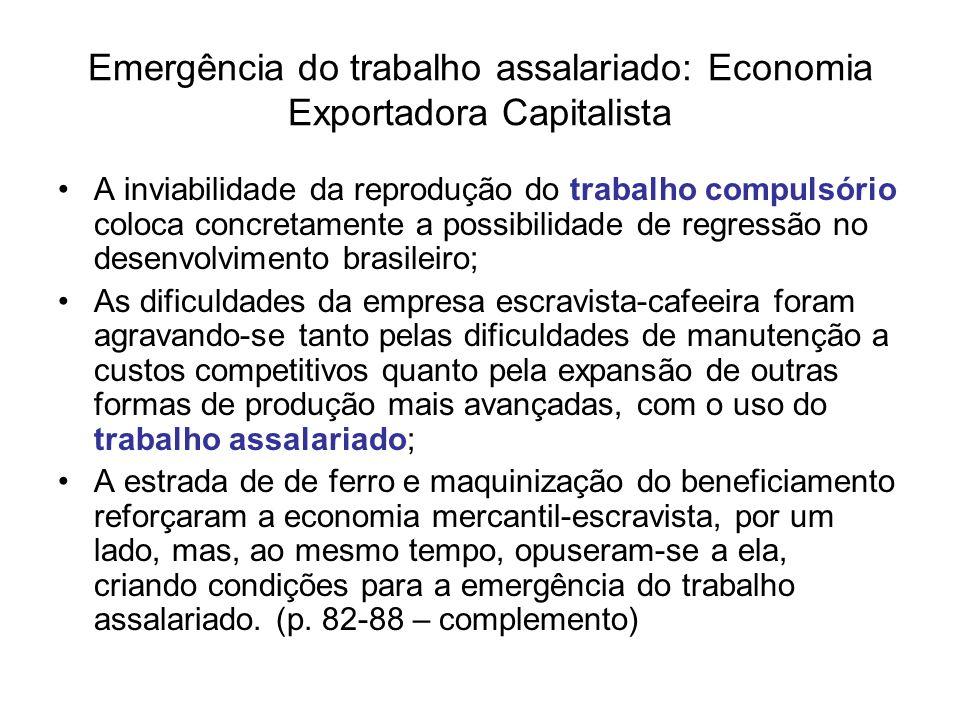 Emergência do trabalho assalariado: Economia Exportadora Capitalista