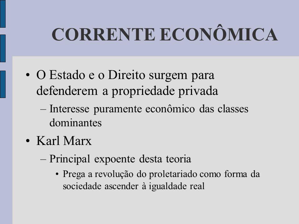 CORRENTE ECONÔMICA O Estado e o Direito surgem para defenderem a propriedade privada. Interesse puramente econômico das classes dominantes.