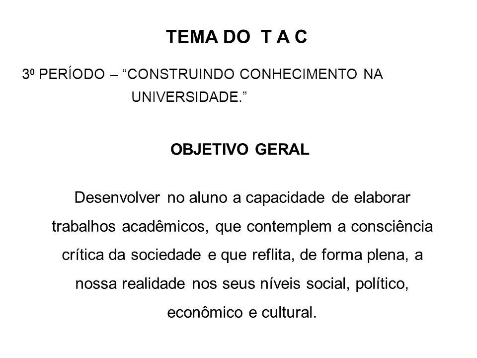TEMA DO T A C OBJETIVO GERAL