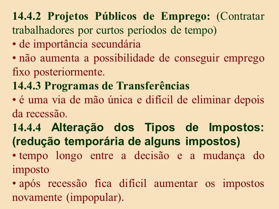 14.4.2 Projetos Públicos de Emprego: (Contratar trabalhadores por curtos períodos de tempo)